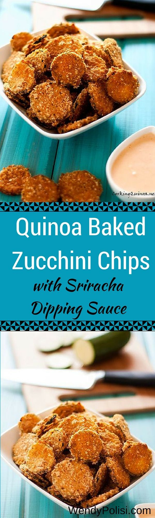 Quinoa Baked Zucchini Chips with Sriracha Dipping Sauce - These gluten free and vegan zucchini chips are a healthier alternative to fried zucchini chips!  Crispy and so good. -- WendyPolisi.com