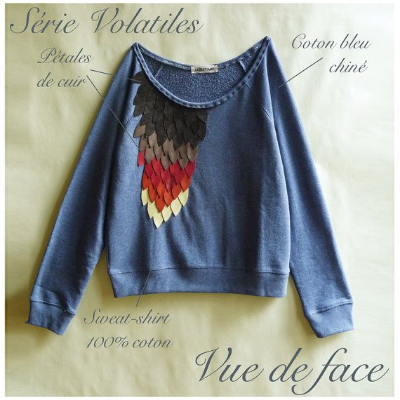 leather feathers embroidered sweatshirt