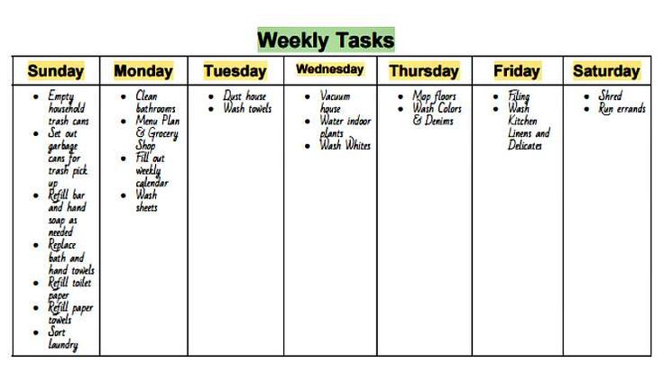 Get this Free Weekly Cleaning Chart at www.mrshinesclass.com