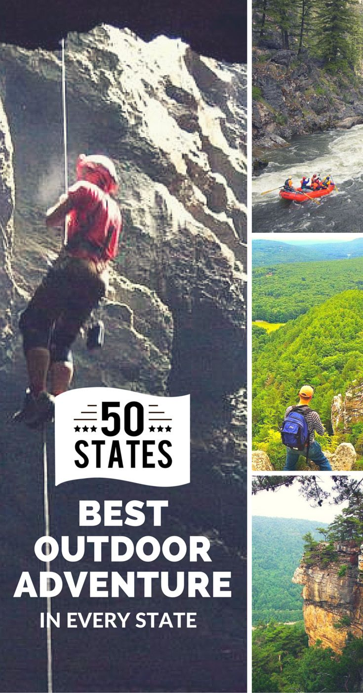 From surfing California's The Wedge to climbing New York's Gunks, here are the best outdoor adventures in every state.