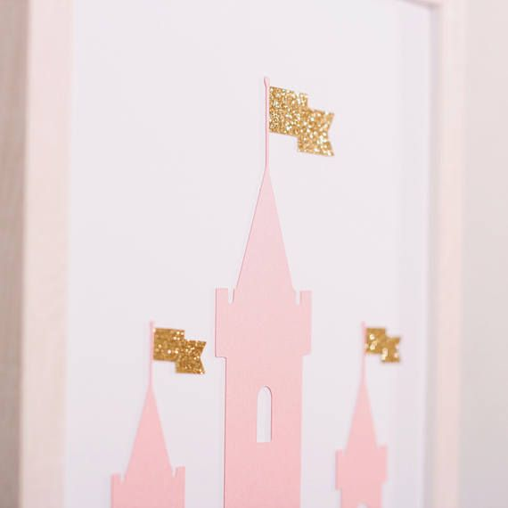 3 set for Girls B. Set of 3 wall pictures for girls, made of special, thick, creative paper, with 3D effect (it's not printed). Pink metallic and golden glitter paper is used. Wall paper art | Wall decor | Wall art | Wall print art | Paper home decor | paper cut | nursery | nursery decor | boy's room | girl's room | baby present | little pincess | princess | unicorn | castle | crown | gold | glitter