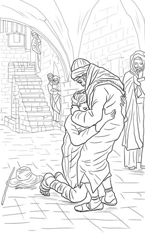 The Return Of Prodigal Son Coloring Page From Jesus Parables Category Select 27278 Printable Crafts Cartoons Nature Animals Bible And Many