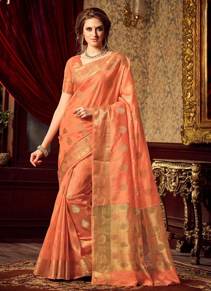 Buy Peach Uppada Art Silk Saree online from the wide collection of sari.  This Peach colored sari in Art Silk fabric goes well with any occasion. Shop online Designer sari from cbazaar at the lowest price.