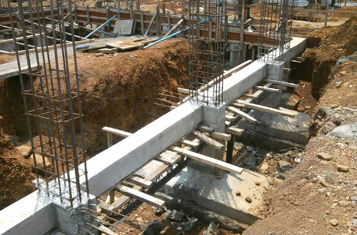 Individual footing with plinth beam connecting them for Basement foundations construction