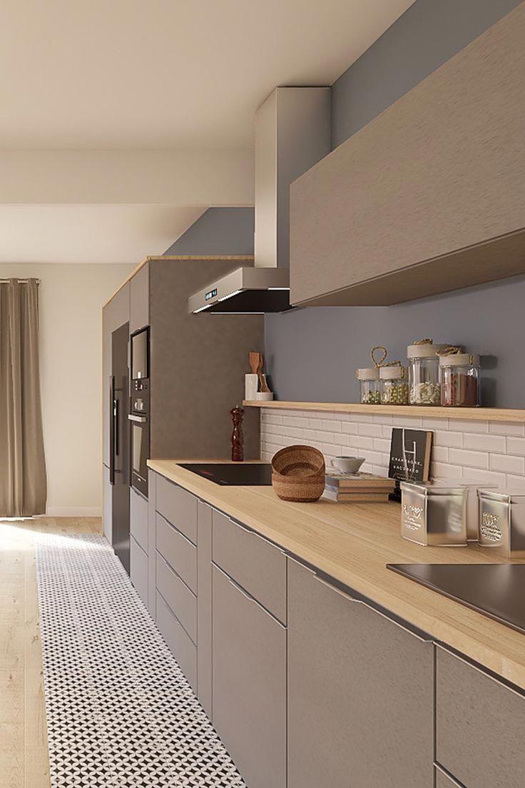 Projet 3d Realise Par Marion Une Piece De Vie Style Design Et Contemporain Cuisine Design Tendan Modern Kitchen Design Kitchen Room Design Kitchen Styling