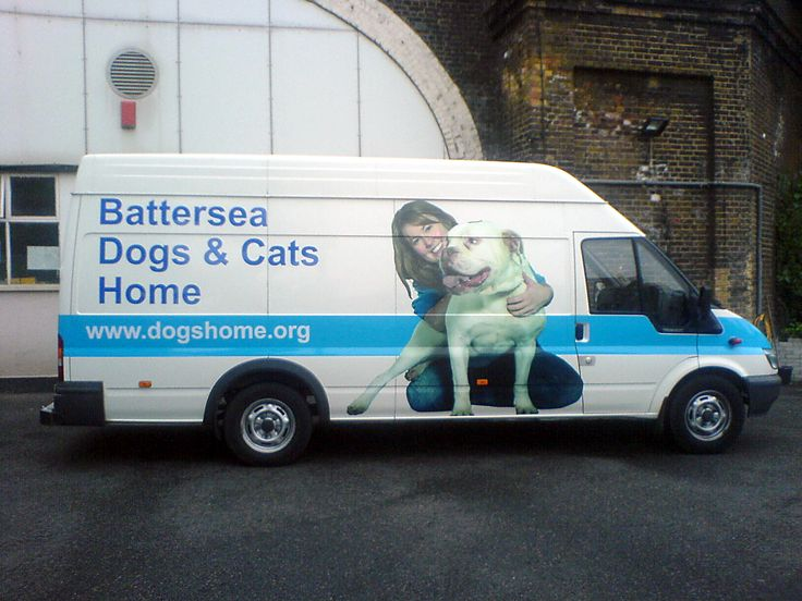 Batersea Dogs and Cats Home show van with printed vinyl graphics.