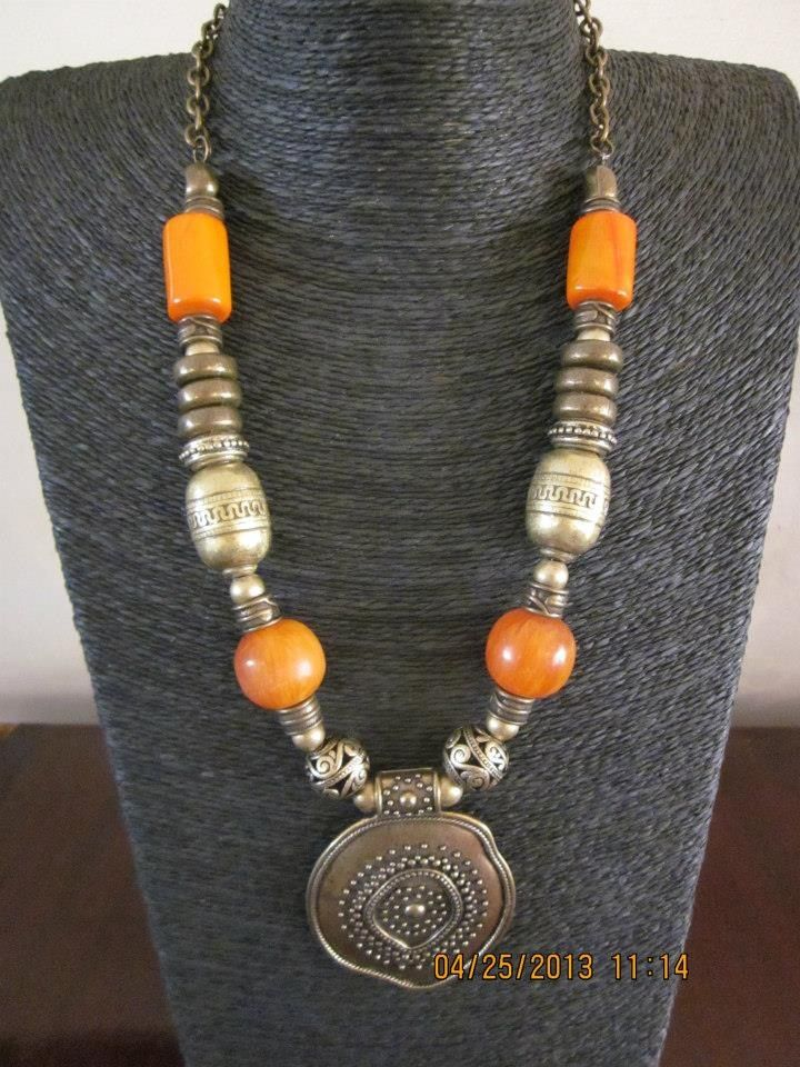 Coral, Amber and Brass medallion necklace