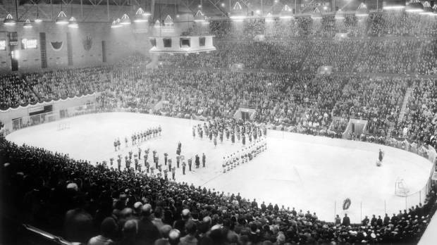 Ceremonial opening of Maple Leaf Gardens in Toronto with the Toronto Maple Leafs hosting the Chicago Black Hawks on Nov. 12, 1931.