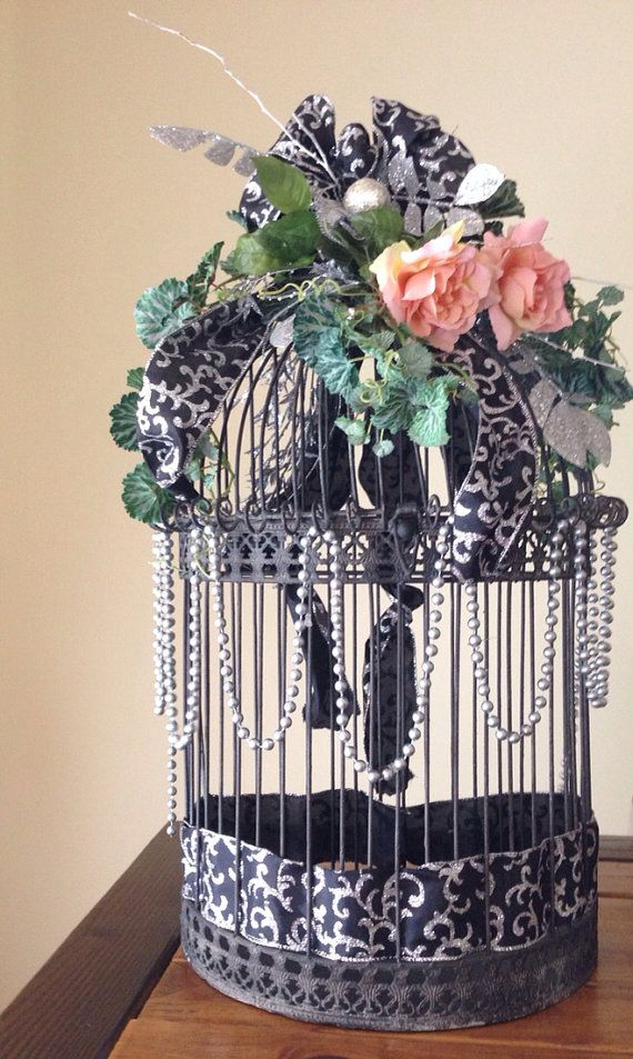 iron birdcage wedding card holder