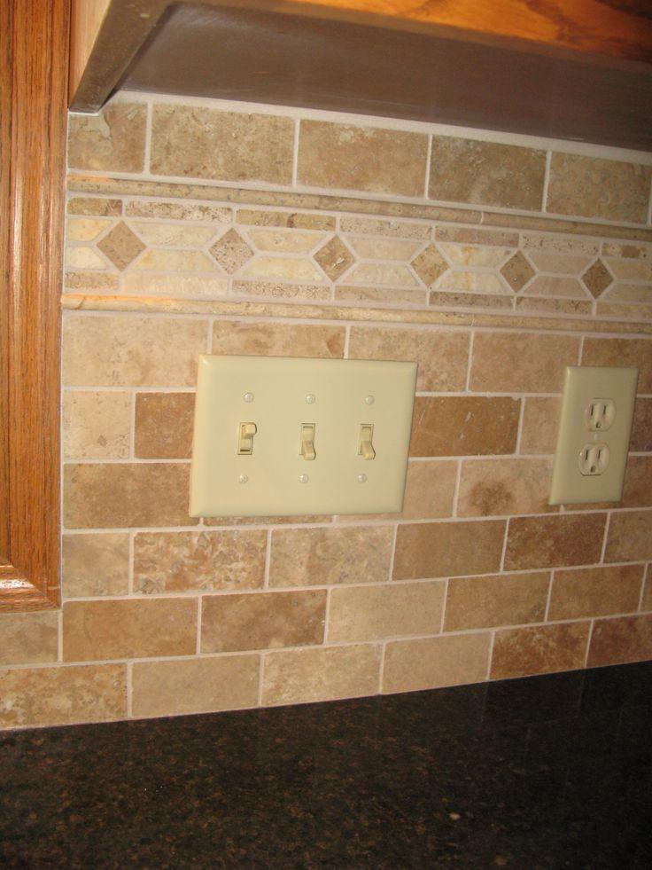 10 best backsplash borders images on pinterest kitchen for Granite backsplash with tile above