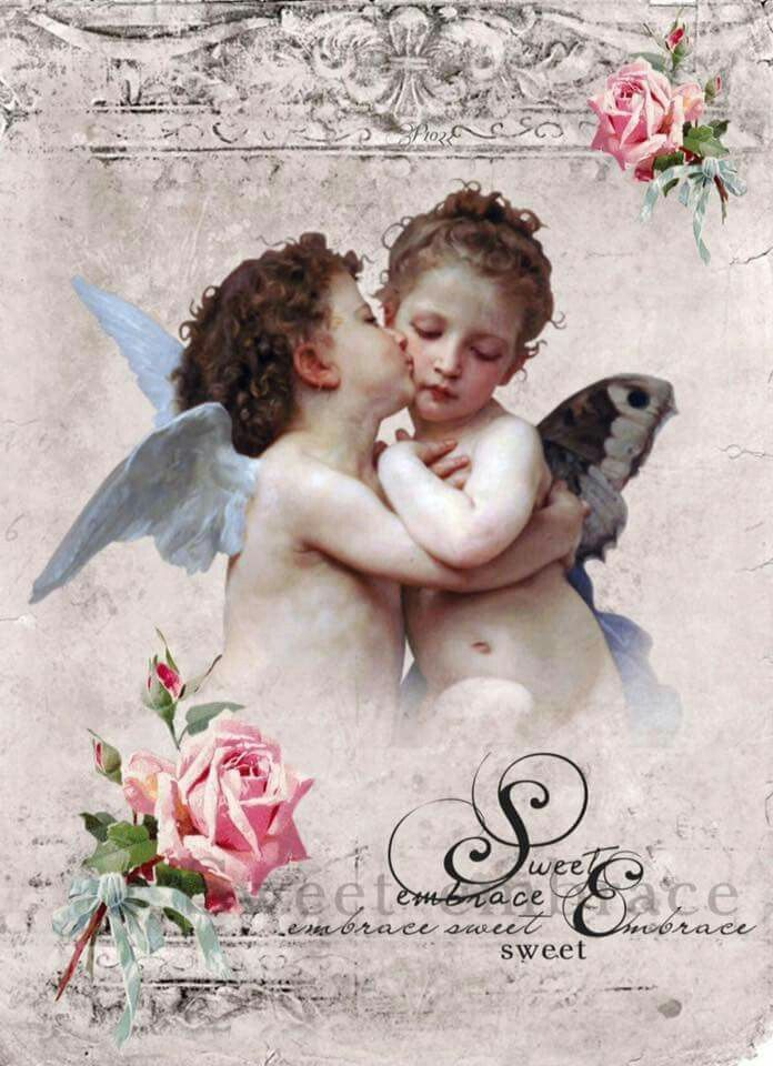 Cherubs and pink roses on ad.
