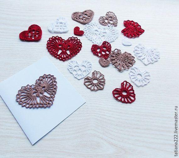 Купить схема вязания сердечки крючком апликации сердечки крючком - сердечки, сердечко текстильное