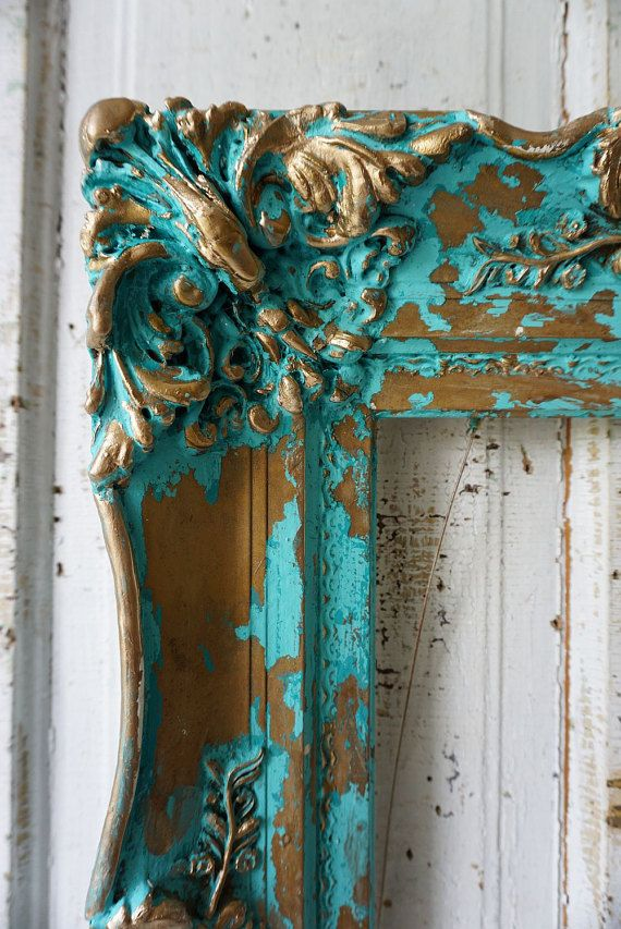 Gesso de madera ornamentada cuadro marco océano azul aqua del colgante de pared francesa Hollins apenado cottage shabby chic decoración diseño