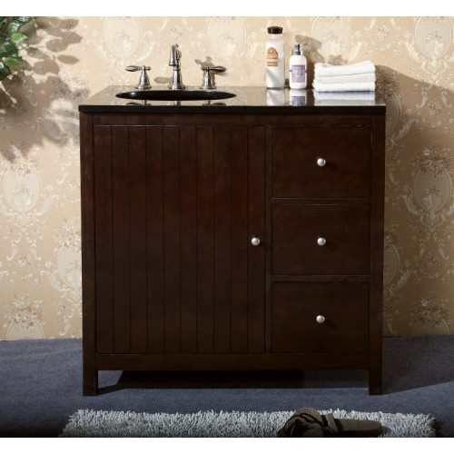 Gallery For Photographers WLF Single Sink Dark Walnut Vanity with Soft Close Doors Width