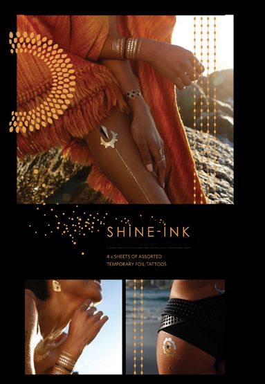 Shine-ink jewellery inspired temporary metallic tattoos are fabulous for the beach, a night (or day) out on the town, festivals and concerts. Unique temporary tattoos designs create beautiful creative ways to wear alternative body art.