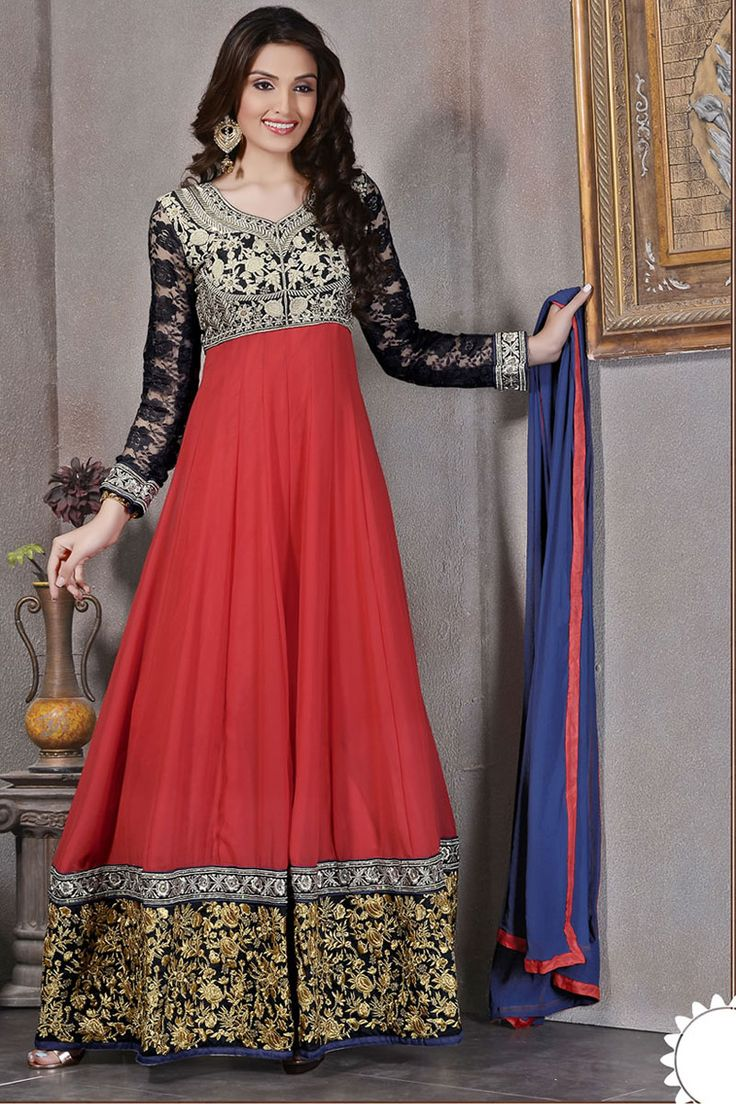 Red Anarkali Churidar Suit and Blue Dupatta Price: £49.00 Be the center of attraction with fancy anarkali churidar collection are now in store like Red Anarkali Churidar Suit and Blue Dupatta. Dress is embellished with Embroidered, Patch, Resham work and Full Sleeve Kameez, Floor Length Kameez, V Neck Kameez. This design is presented by Andaaz Fashion and prefect for Party, Wedding, Festival, Ceremonial