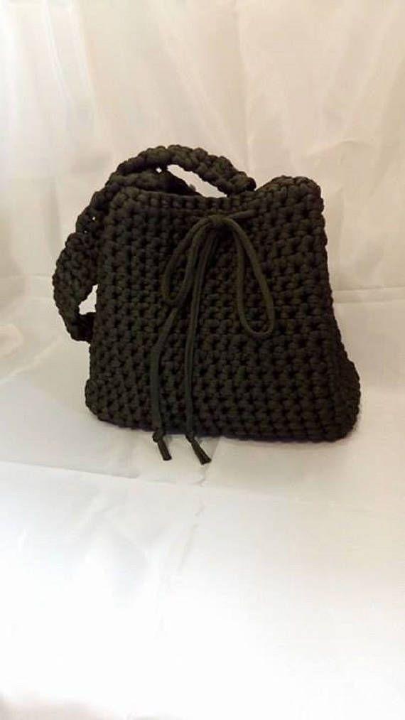 crochet bucket baggreen modern bag