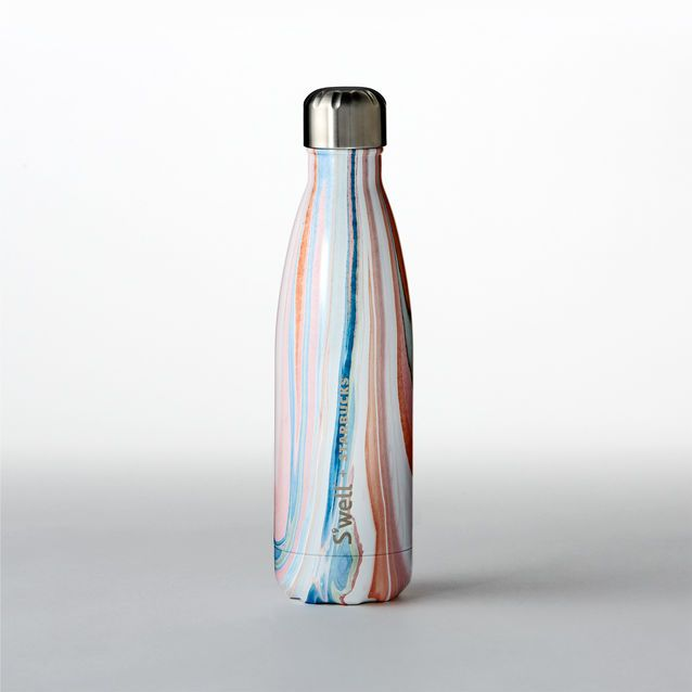 A stainless steel S'well® water bottle in a colorful marbled design.