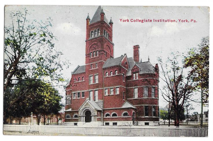 York Collegiate Institute (York College of Pennsylvania ) established in 1787 . Designed by famous York architect John A Dempwold , demolished in 1969 , HISTORY ERASED