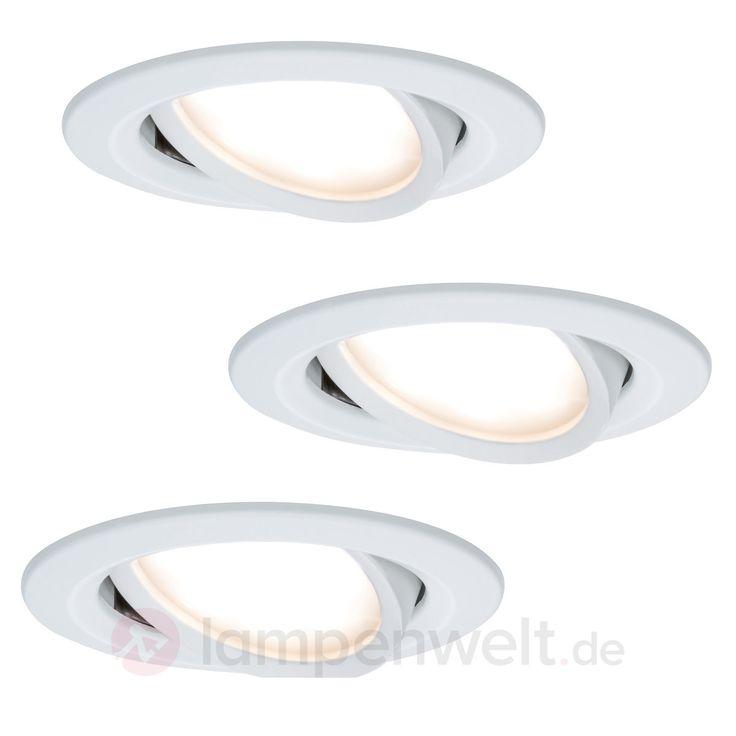 3er Set LED-Einbauleuchten Coin Slim, weiß, IP23 7600811