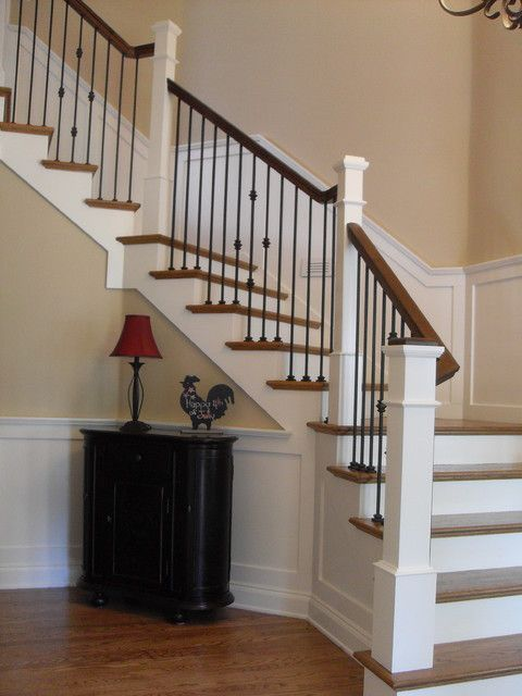 Wrought Iron Balusters Staircase Traditional with 4091 Box Newel Box Newels Custom Stairs Handrail Oak