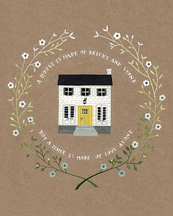 Rebekka Seale :. etsy Custom house portraits Would this make me love my house more? My gosh I want a yellow door!