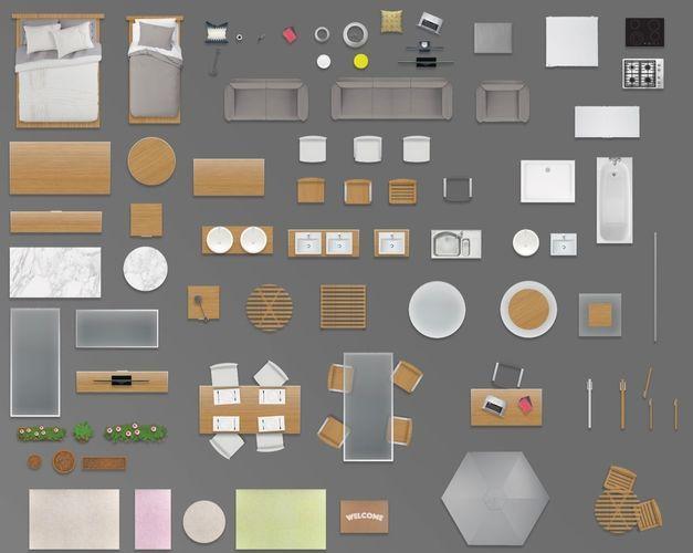 2d Furniture Floorplan Top View Psd 3d Model Render