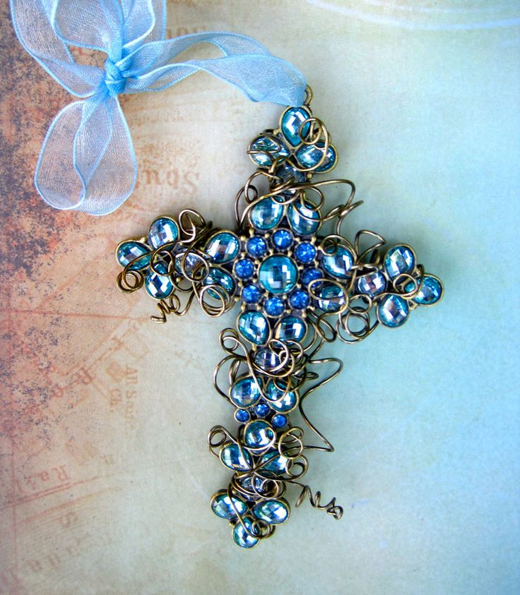copper wire cross ornament | Wire-wrapped Cross Ornament Something Blue Cross Christmas
