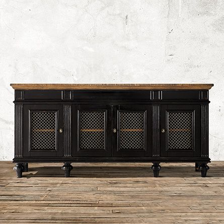 Inspired by French farmhouse antiques, the Arhaus Beckett Media Console In Black works beautifully as a TV console or extra office storage.