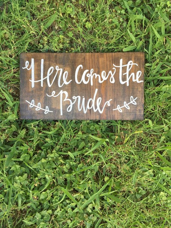Here comes the bride sign, wedding decorations, rustic wedding, boho wedding, wedding signage, rustic wedding decor, stained wedding sign  This