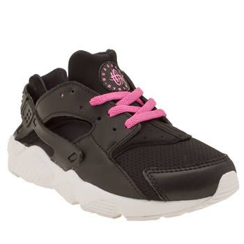 Nike Black Huarache Run Girls Junior The 90s running profile sprint into present day, this time downsized for kids. Arriving in black, the man-made profile features neon pink laces for a bright contrast, along with a branded heel cage fo http://www.MightGet.com/january-2017-13/nike-black-huarache-run-girls-junior.asp