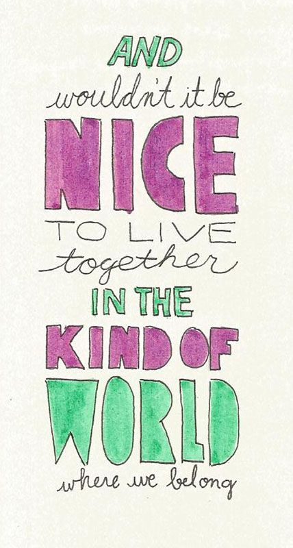 Lyrics from The Beach Boys-Wouldn't it Be Nice (Catherine Jackson type drawings)