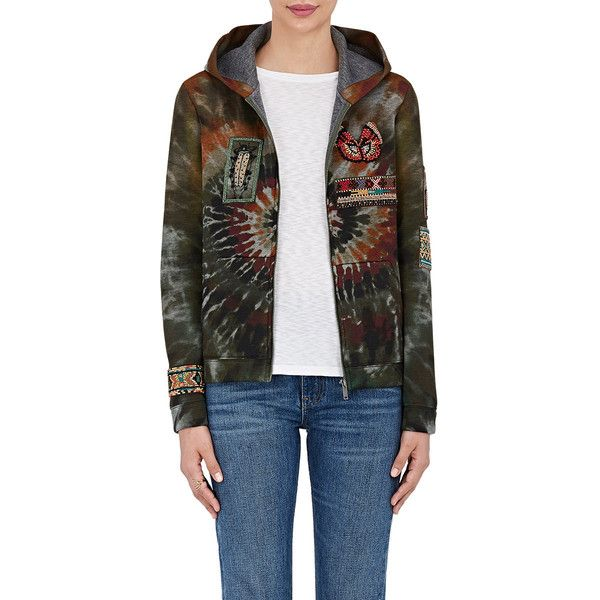 Valentino Women's Embellished Tie-Dyed Neoprene Hoodie (27,235 GTQ) ❤ liked on Polyvore featuring tops, hoodies, green, long sleeve tops, neoprene hoodie, kangaroo pocket hoodie, colorful hoodie and embellished tops