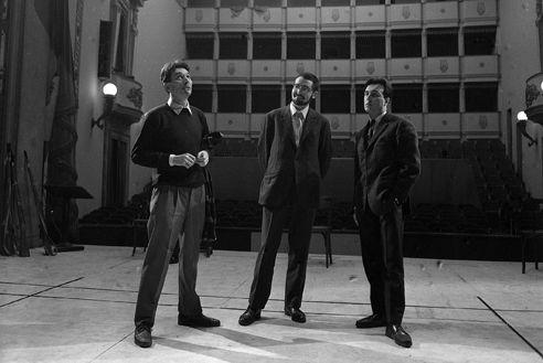 Da sinistra: Virginio Puecher  Giacomo Manzoni Claudio Abbado - Piccola Scala, 1965 (prove di Atomtod)