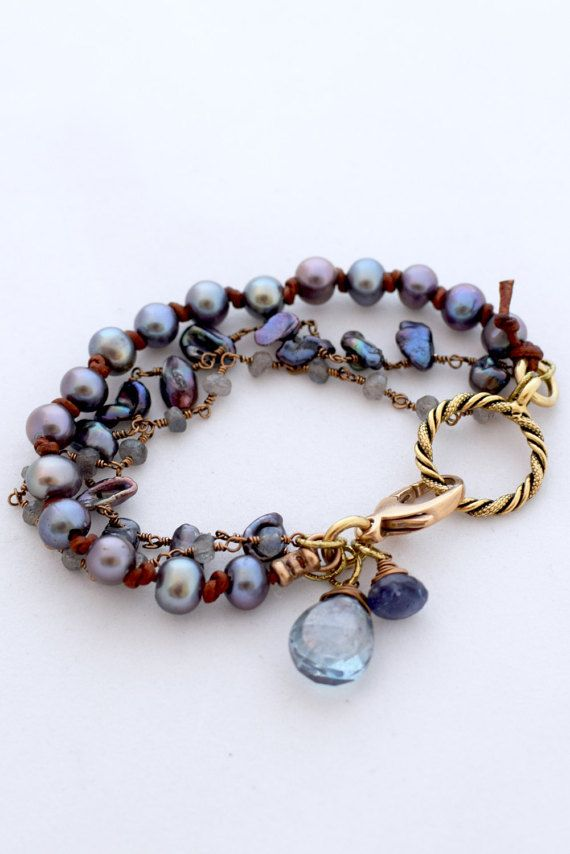 Artisan Multistrand Gemstone And Pearl Bracelet - Leather Knotted Airy Blue…