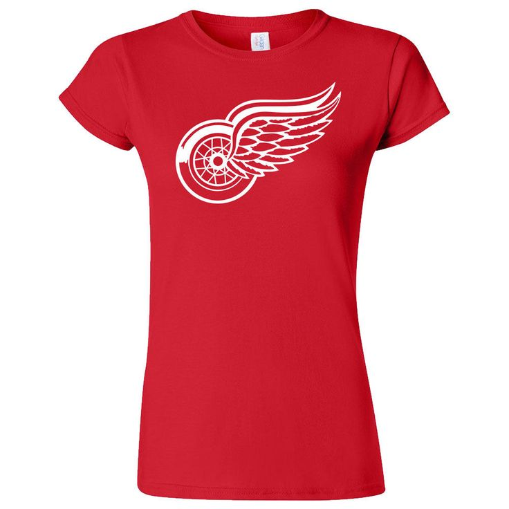 Detroit Red Wings Classic Wheel Hockey Logo Screen Printed On A Ladies Red Soft Style T-Shirt by caliprintco on Etsy