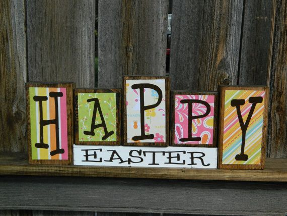 Happy Easter wood blocks by BuzzingBeesCrafts on Etsy, $17.00