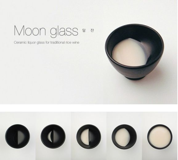 Moon Glass by TALE (Seoul, South Korea) -- a ceramic sake glass that mimics the phases of the moon... waning as you drink.
