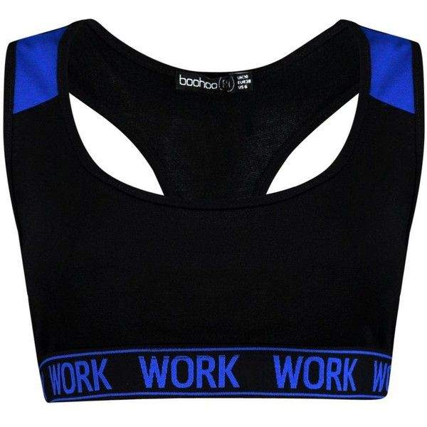 Boohoo Sophia FIT Work Slogan Band Sports Bra | Boohoo ($16) ❤ liked on Polyvore featuring activewear, sports bras, cropped cami, polka dot cami, polka dot jersey, cropped camisoles and polyester camisole
