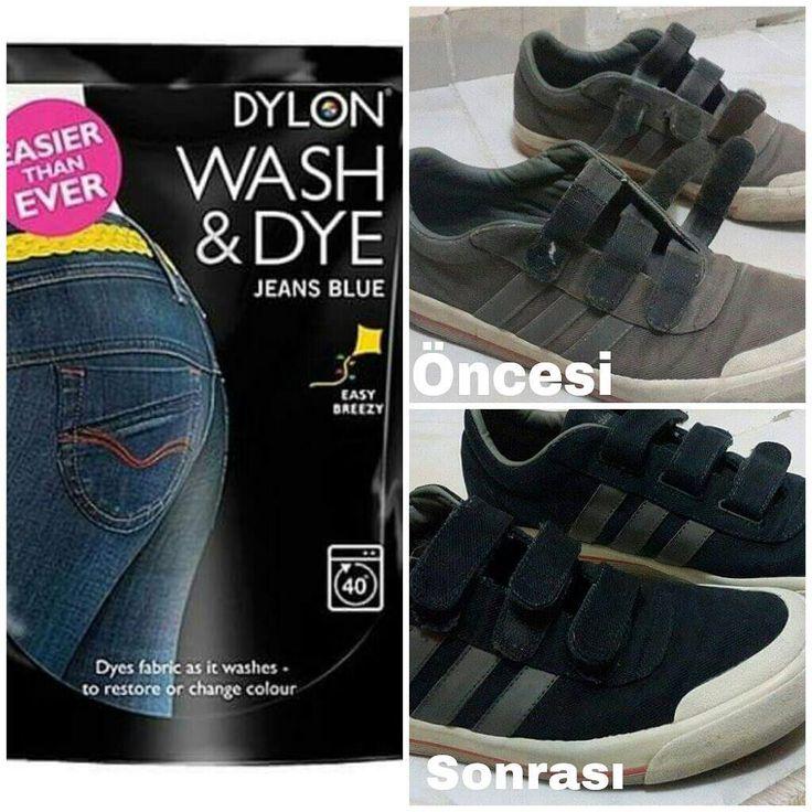 Bizden... Dylon Jean blue -wash dye boyası alan müşterimiz Emrah bey'in yenilediği spor ayakkbıları..