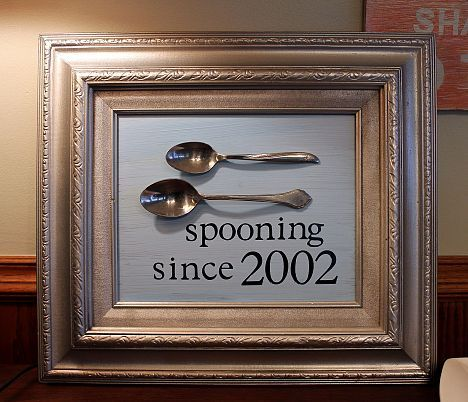 DIY funny & cute gift to have in kitchen... spooning since the year you started dating.