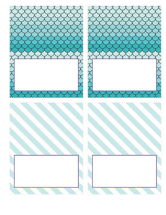 DIY Printable Food Labels/ Tents Mermaid Party by paigesofstyle