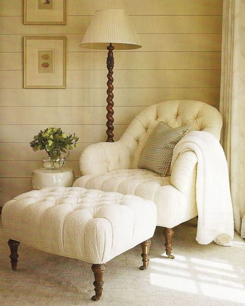 Tufted Chair And Ottoman Creamy White