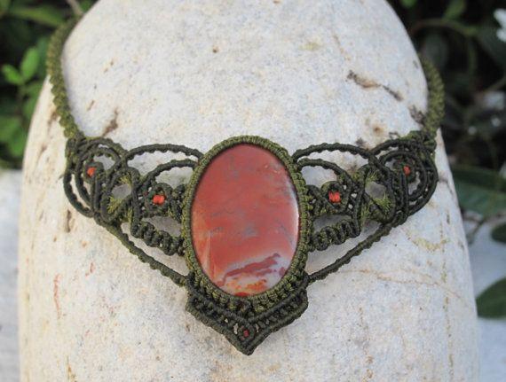 Jasper macrame necklace by MacramEva on Etsy