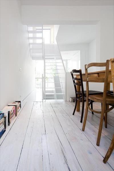 Wide plank white wood floors