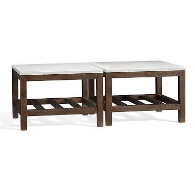 connor chestnut finish pine u0026 carrara marbel square coffe table