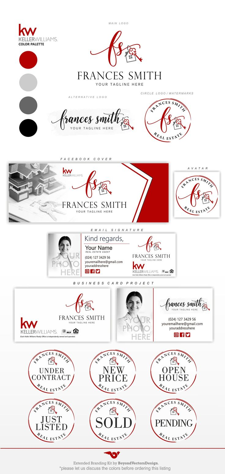 Realtor logo, Real Estate logo Design, Realtor Branding, KW Realtor Logo, Keller Williams logo, Keller Williams colors, KW realtor set 269