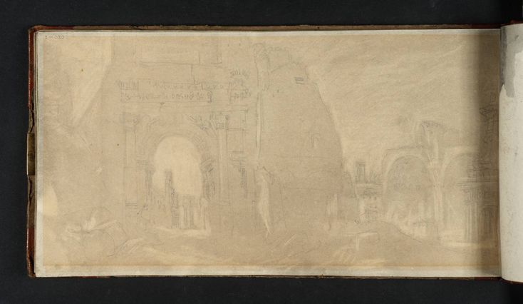 Turner, 'The Arch of Titus and the Basilica of Constantine, Rome', 1819, graphite and watercolour on paper.