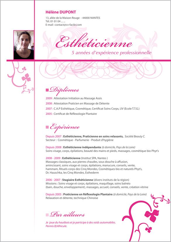 model cv original esthetique francais
