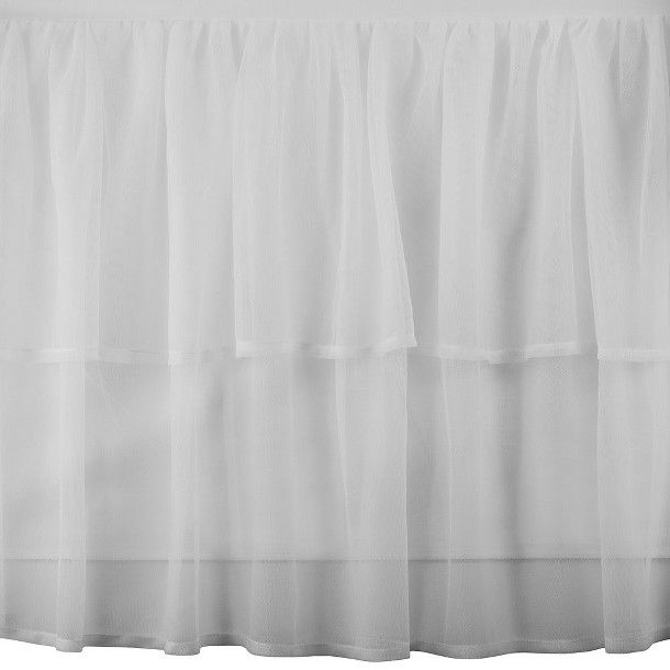 Tadpoles Triple Layer Tulle Crib Skirt - White